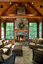 60 Awesome Log Cabin Homes Fireplace Design Ideas (16)