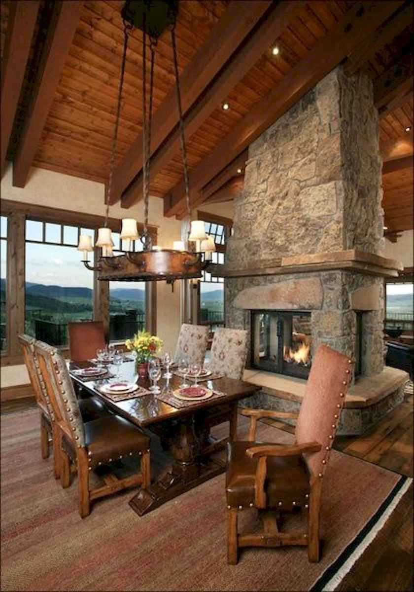 60 Awesome Log Cabin Homes Fireplace Design Ideas (18)