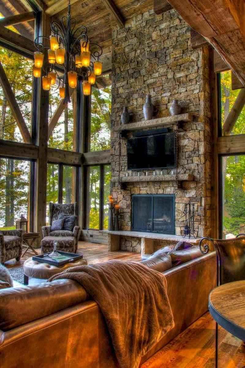 60 Awesome Log Cabin Homes Fireplace Design Ideas (20)