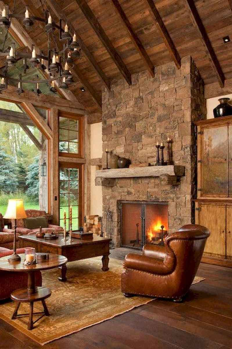 60 Awesome Log Cabin Homes Fireplace Design Ideas (22)