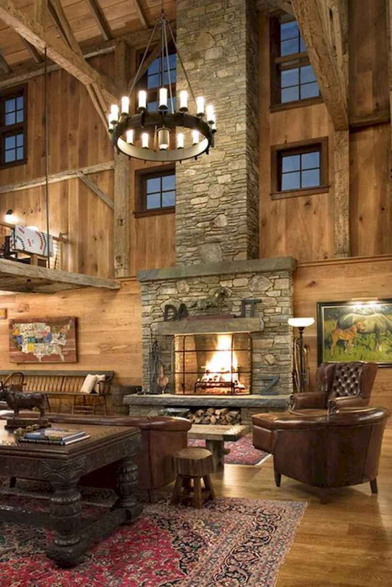 60 Awesome Log Cabin Homes Fireplace Design Ideas (23)