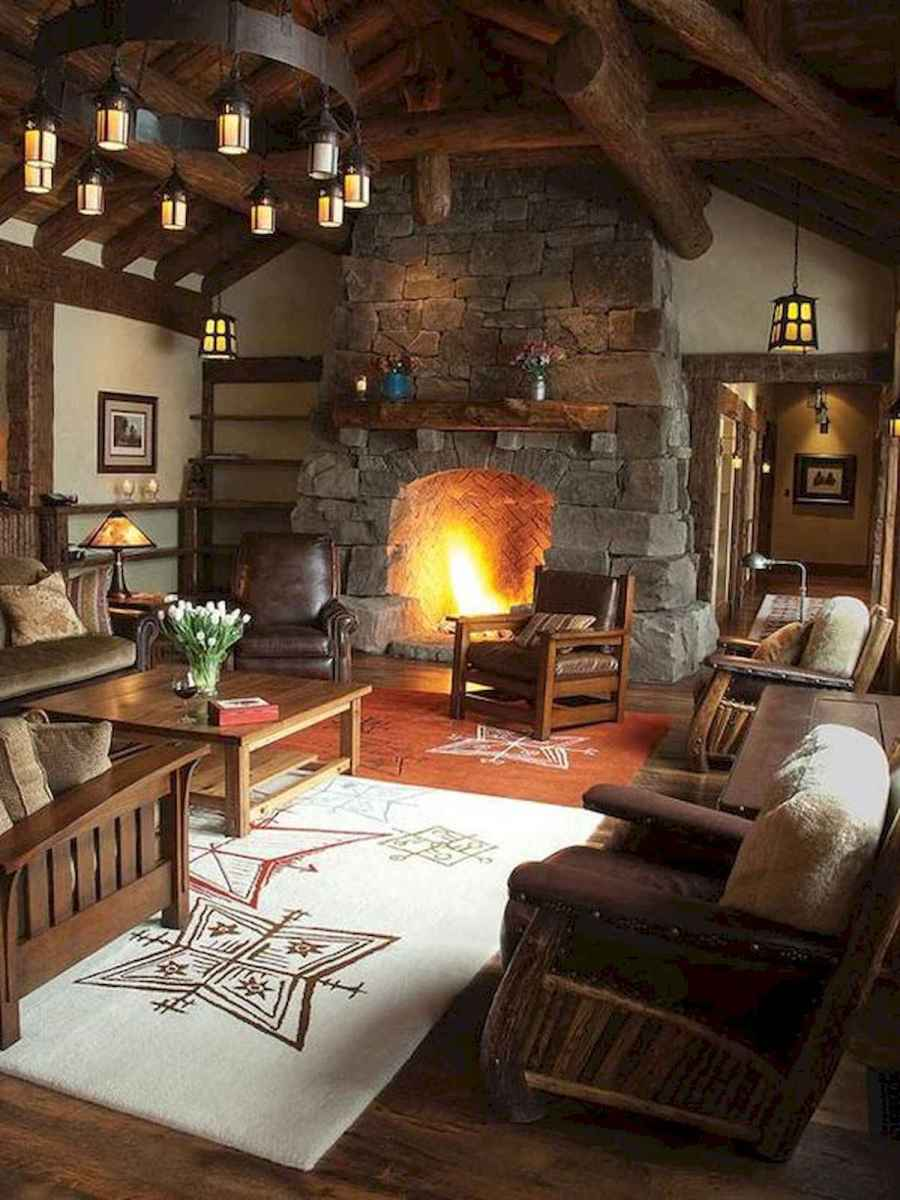 60 Awesome Log Cabin Homes Fireplace Design Ideas (25)