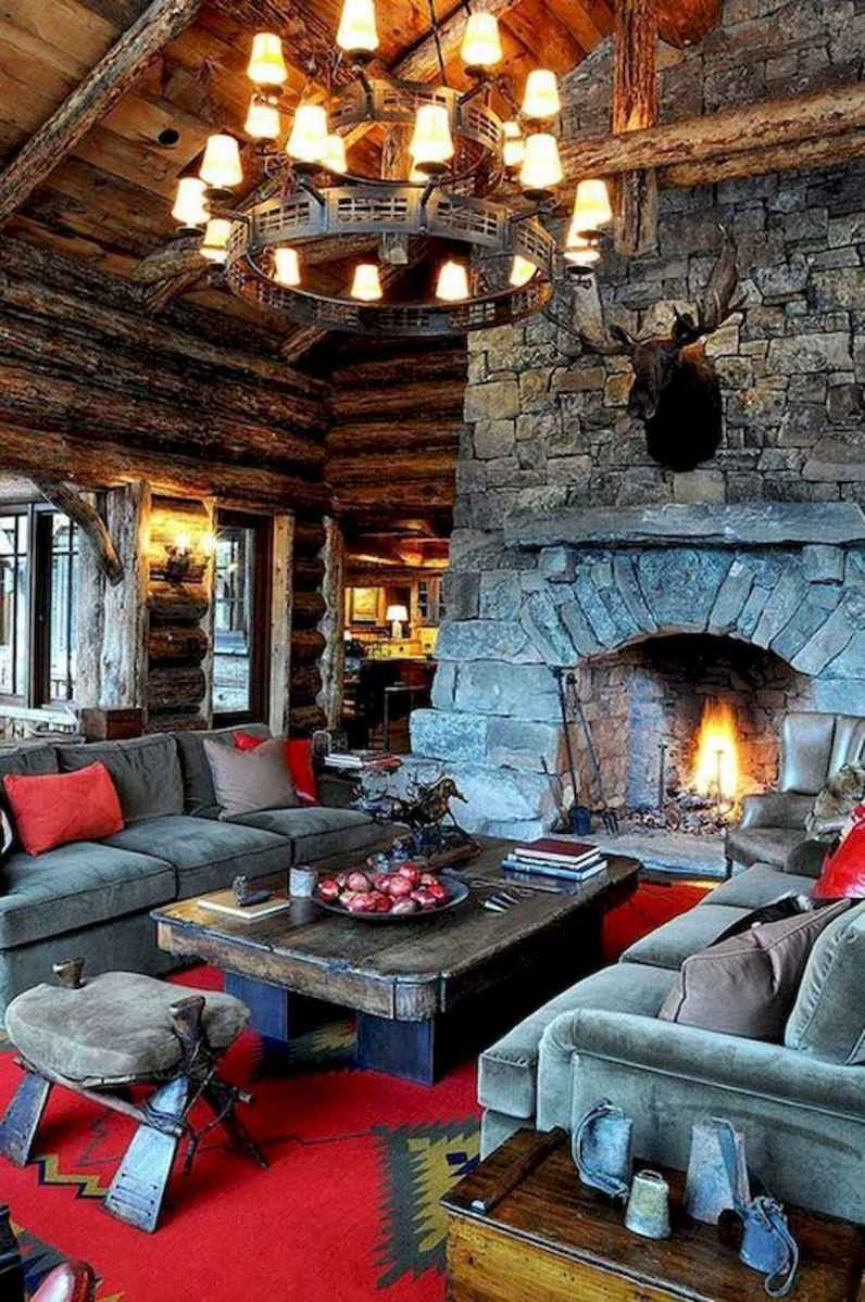 60 Awesome Log Cabin Homes Fireplace Design Ideas (29)