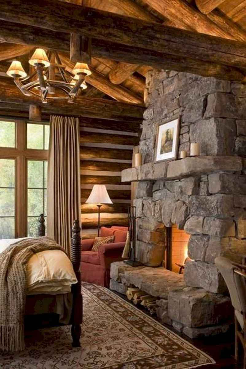 60 Awesome Log Cabin Homes Fireplace Design Ideas (32)