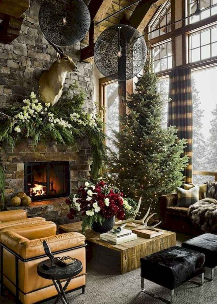 60 Awesome Log Cabin Homes Fireplace Design Ideas (35)