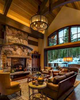 60 Awesome Log Cabin Homes Fireplace Design Ideas (39)