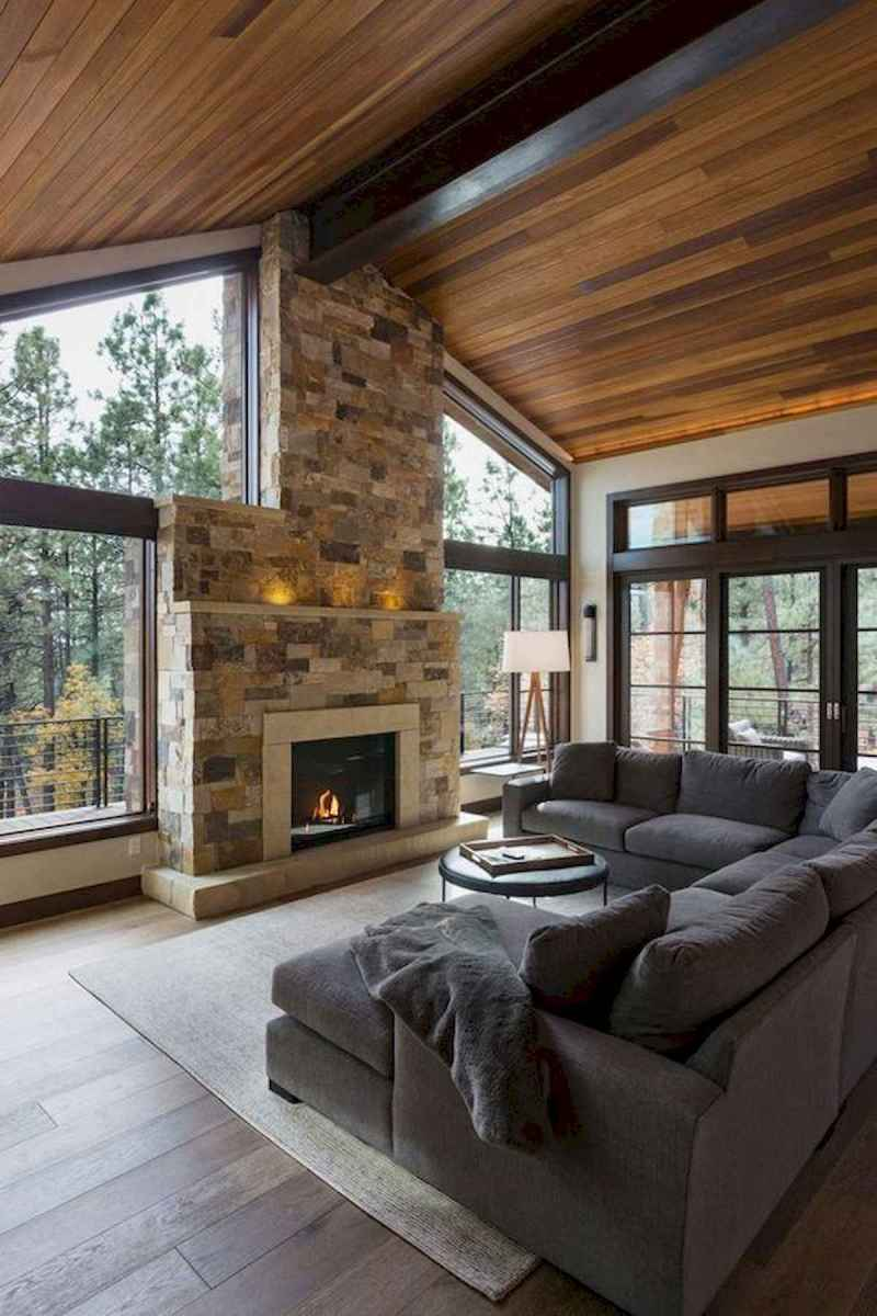 60 Awesome Log Cabin Homes Fireplace Design Ideas (4)