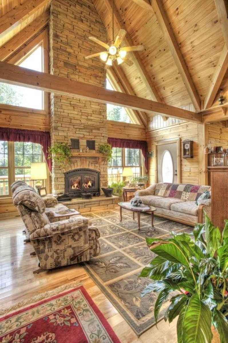60 Awesome Log Cabin Homes Fireplace Design Ideas (46)