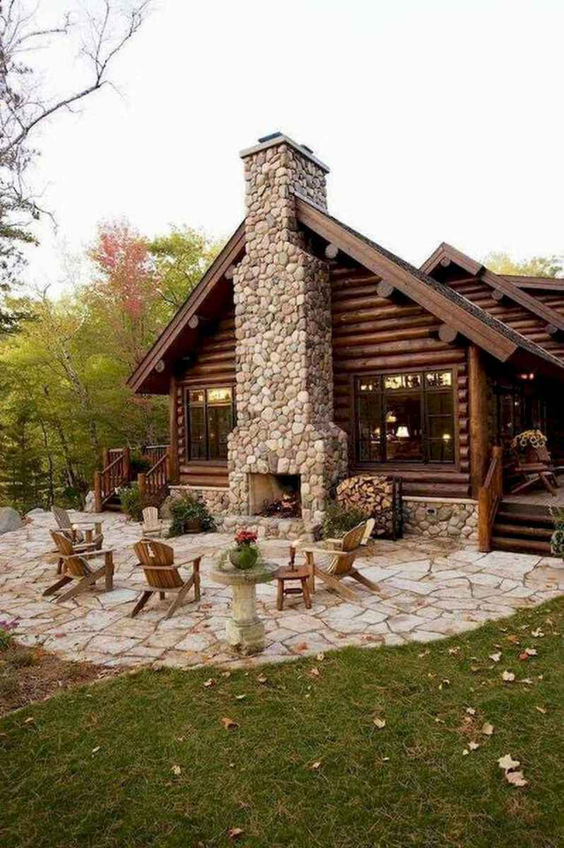 60 Awesome Log Cabin Homes Fireplace Design Ideas (47)