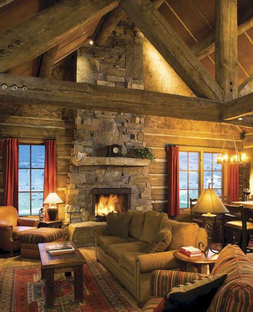 60 Awesome Log Cabin Homes Fireplace Design Ideas (50)