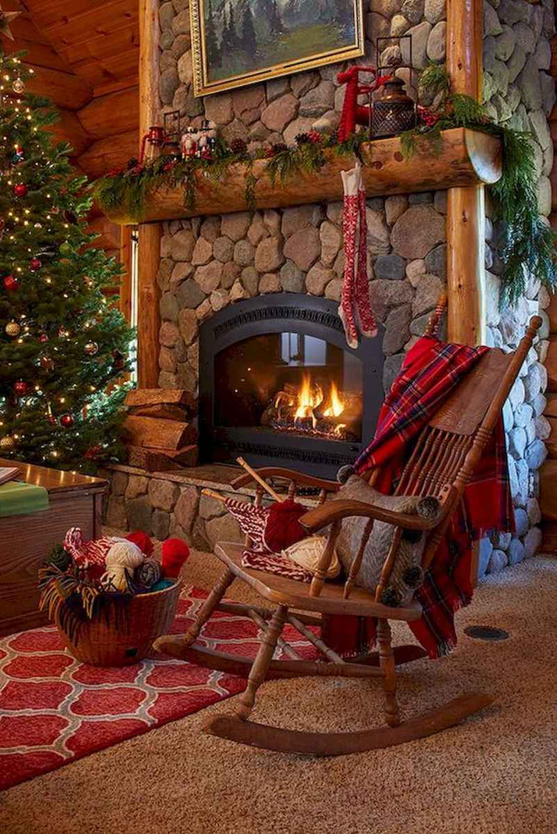 60 Awesome Log Cabin Homes Fireplace Design Ideas (55)