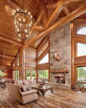 60 Awesome Log Cabin Homes Fireplace Design Ideas (62)