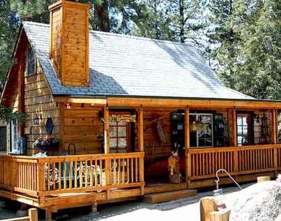 70 Suprising Small Log Cabin Homes Design Ideas (24)