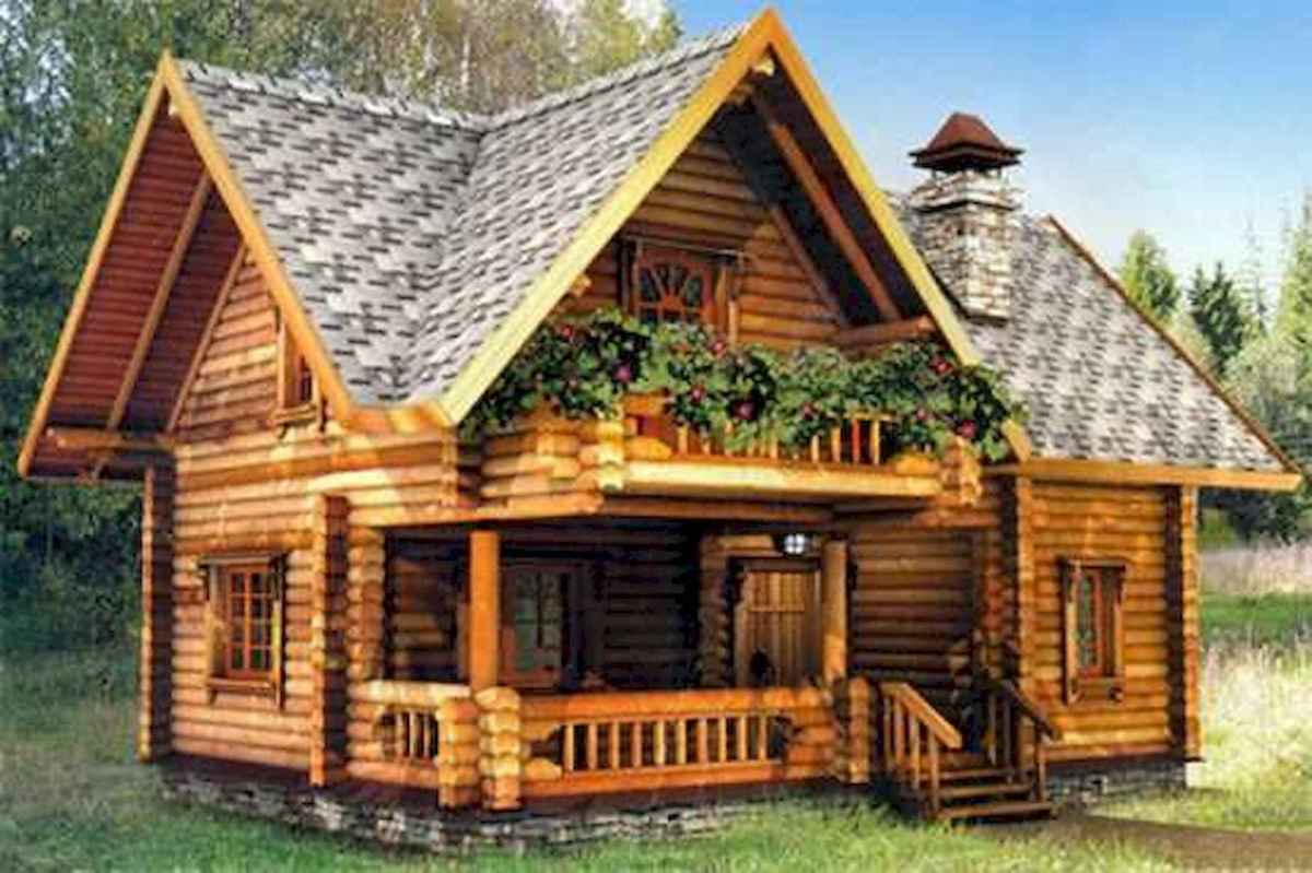 70 Suprising Small Log Cabin Homes Design Ideas (39)