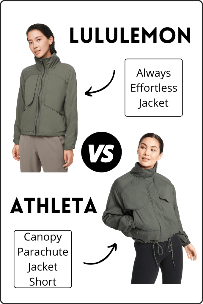 picture of the lululemon always effortless jacket next to a picture of the athleta canopy parachute jacket short