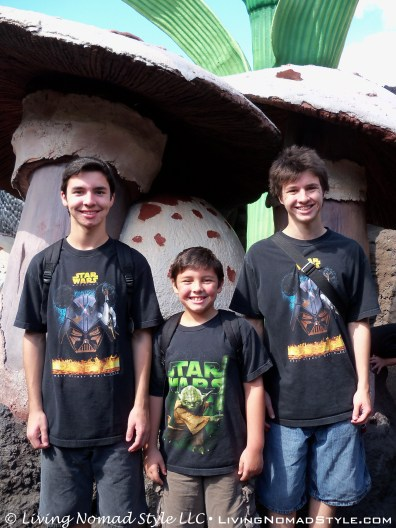 The boys in front of giant mushrooms.