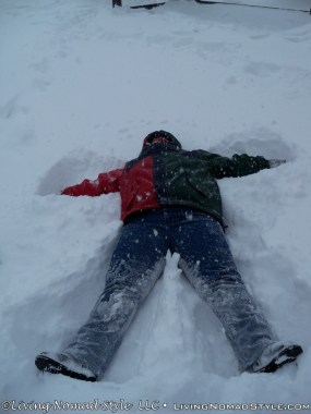Mandy Making Snow Angels