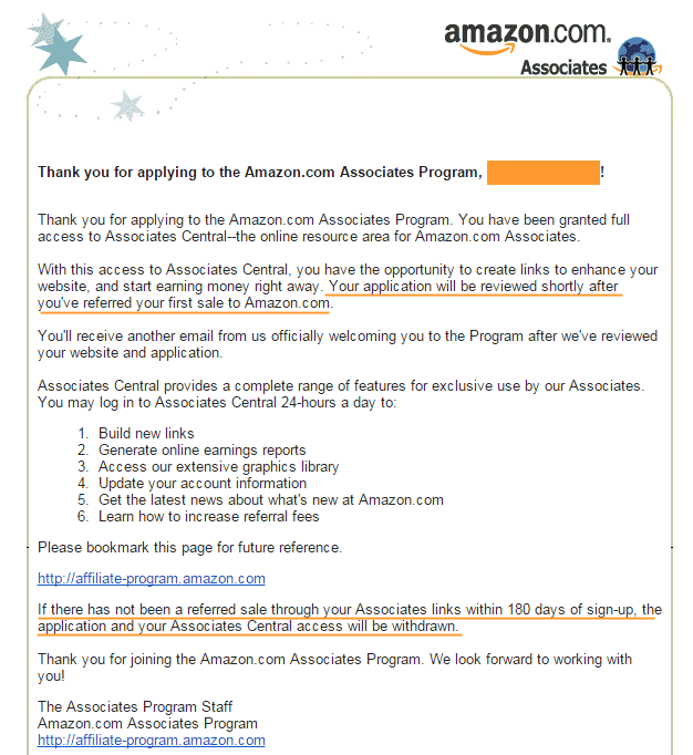 How To Become an Amazon Affiliate: Welcome Email from Amazon