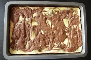 Cheesecake Brownies in pan
