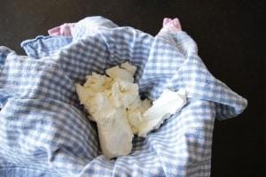 Cream cheese in sieve