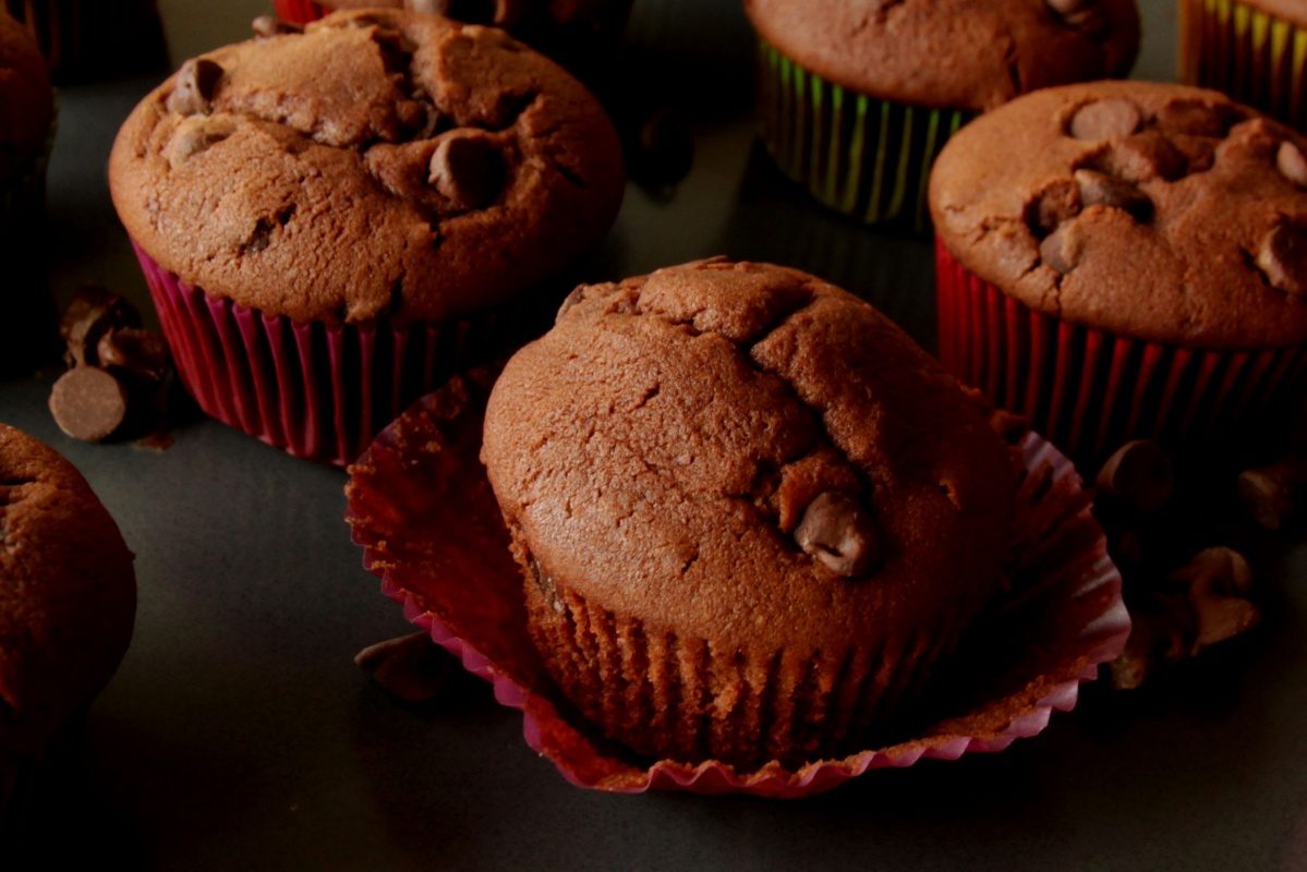 The Best Double Chocolate Muffins ~ Living on Cookies