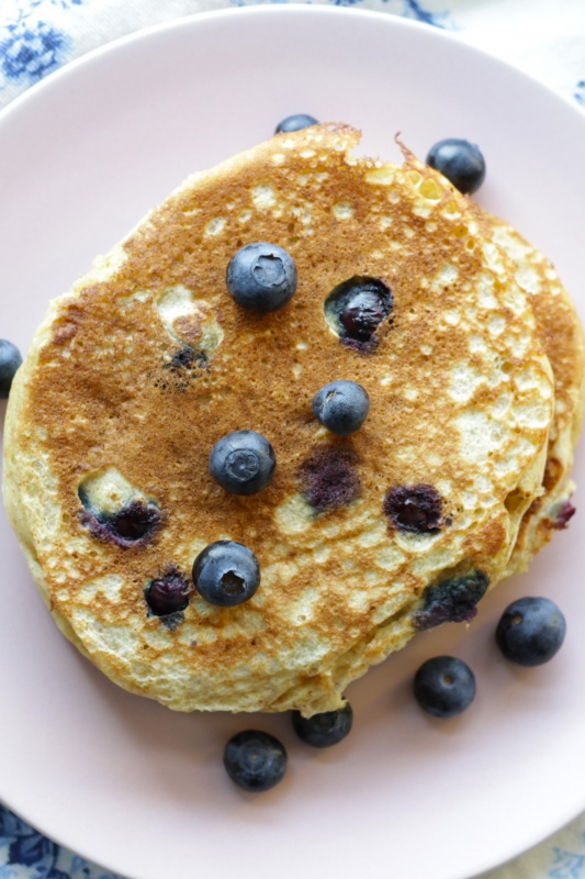 Blueberry Buttermilk Pancakes ~ Living on Cookies