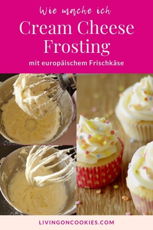 Ich habe ENDLICH ein Rezept für Cream Cheese Frosting aus europäischem Frischkäse entdeckt, das JEDES MAL gelingt. Eigentlich liegt der Erfolg weniger beim Rezept selbst als an der METHODE, wie man das Frosting herstellt. Probier's aus!