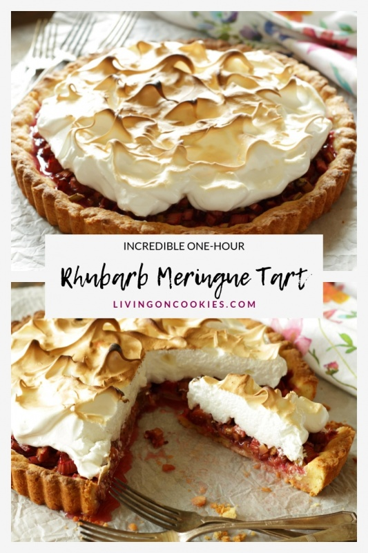 This Rhubarb Meringue Tart is way easier to make than it looks. In total you will only need an hour to make it, including the baking time. It's easy-peasy, looks so pretty and tastes amazing! Try this recipe!