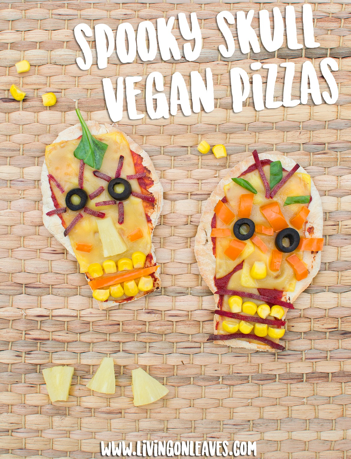 spooky skull pitta bread pizzas vegan