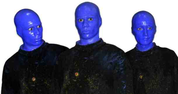 Blue paint and black clothes will turn you and two pals into the Blue Man Group.