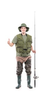 Wading boots and a tack vest lend a realistic vibe to this fisherman look. Add some hooks and lures if you have them. Photo by iStock.