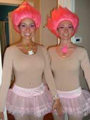 Bright wigs and flesh-colored leotards create a great troll look. Add tutus or hula skirts for extra coverage.