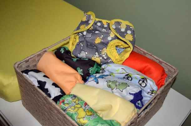 cloth diapers on table