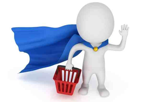 Brave superhero shopper with blue cloak