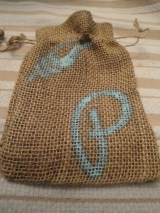 DIY burlap drawstring bag