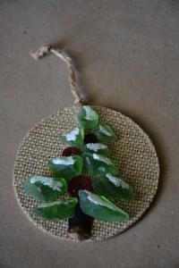 sea glass, burlap, and button Christmas tree ornament