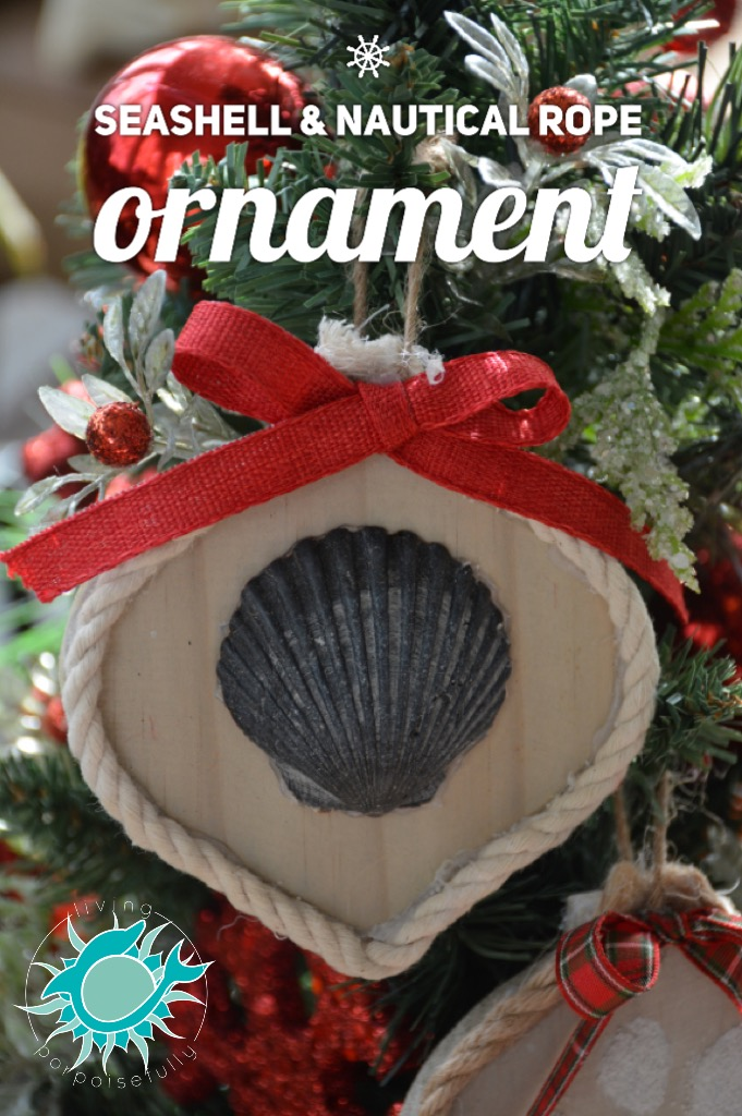 coastal seashell & nautical rope Christmas ornament