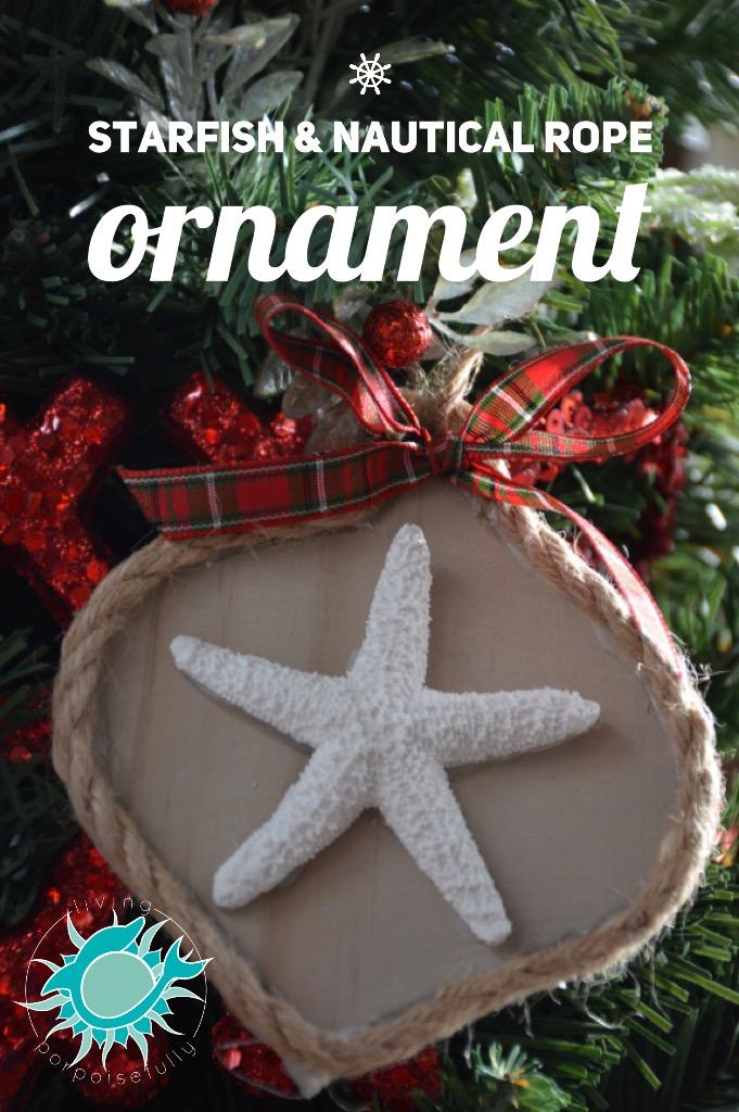 coastal starfish & nautical rope Christmas ornament