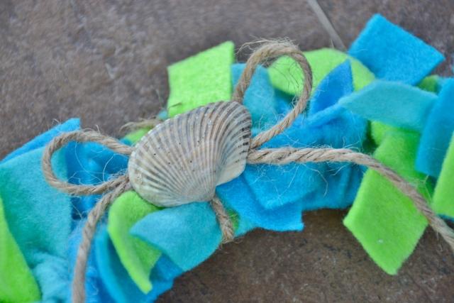 Earth Day felt strips wreath with seashell