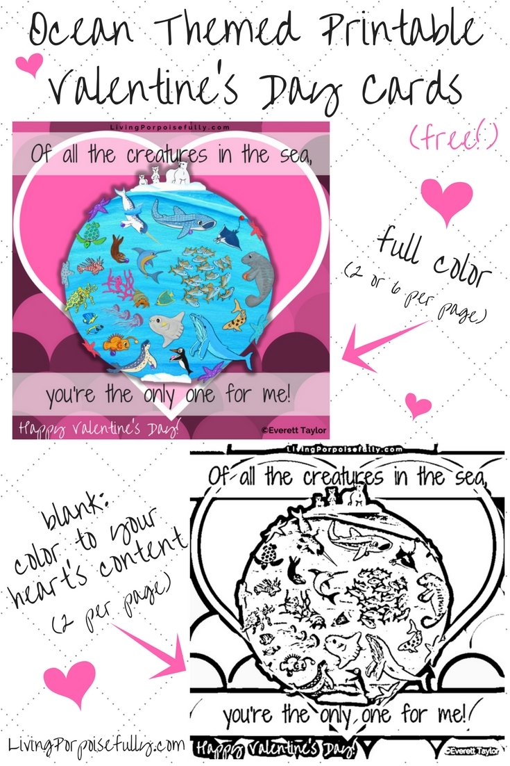 Ocean Themed Printable Valentine's Day Cards (Free!)