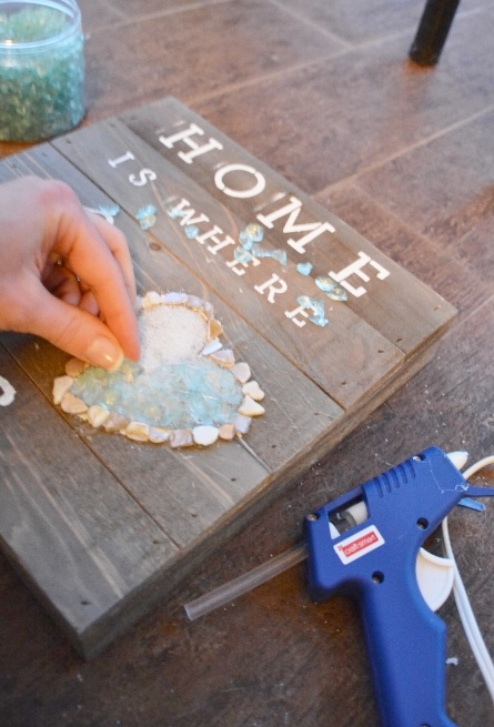 diy coastal rustic wood plaque craft STEP 5