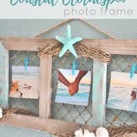 DIY Coastal Clothespin Photo Frame