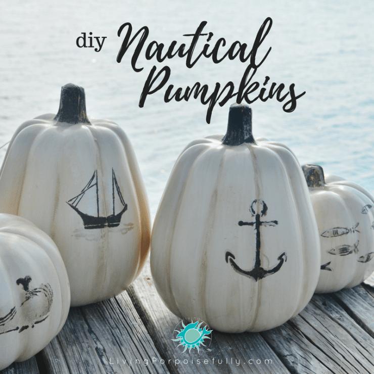 diy Nautical Pumpkins - LivingPorpoisefully.com - social media