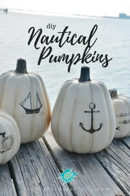 diy Nautical Pumpkins - LivingPorpoisefully.com