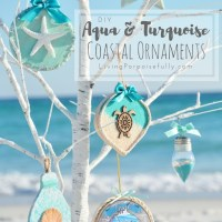DIY Aqua & Turquoise Coastal Christmas Ornaments