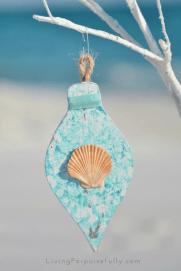 turquoise aqua shell ornament