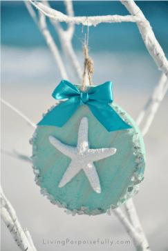 turquoise aqua starfish ornament