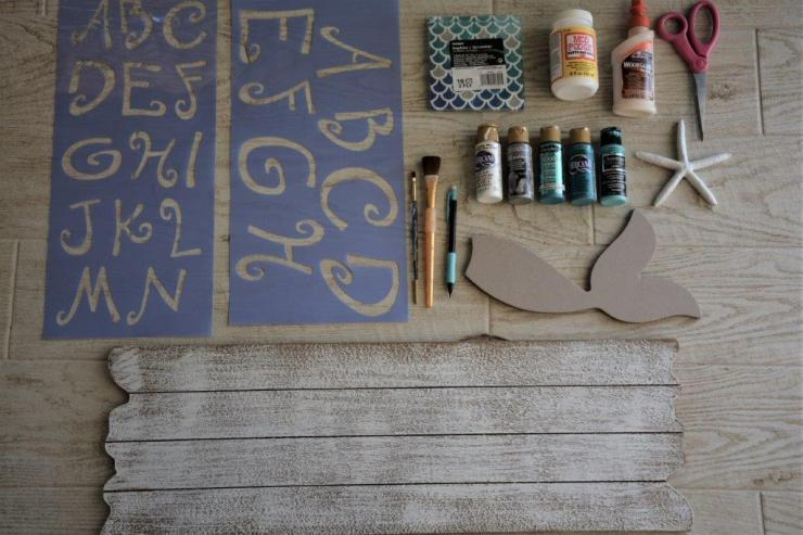 DIY Mermaid Sign supplies