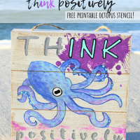 DIY Inspirational Octopus Ink Wood Sign, Stencil & Coloring Page