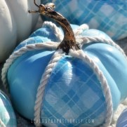 DIY Coastal Aqua Pumpkins - uses paper napkins! Living Porpoisefully (2)